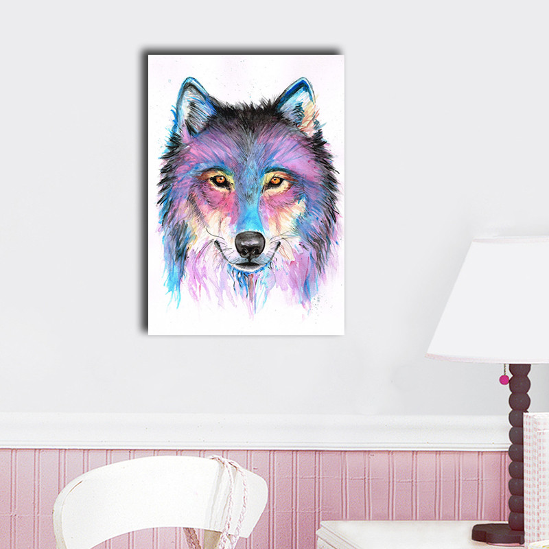 Best ideas about Wolf Wall Art . Save or Pin 30×40×3cm Watercolor Wolf Canvas Print Framed Gift Wall Now.