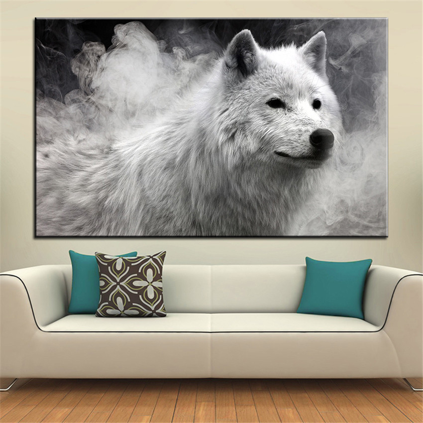 Best ideas about Wolf Wall Art . Save or Pin size Printing Oil Painting white wolf Wall painting Now.