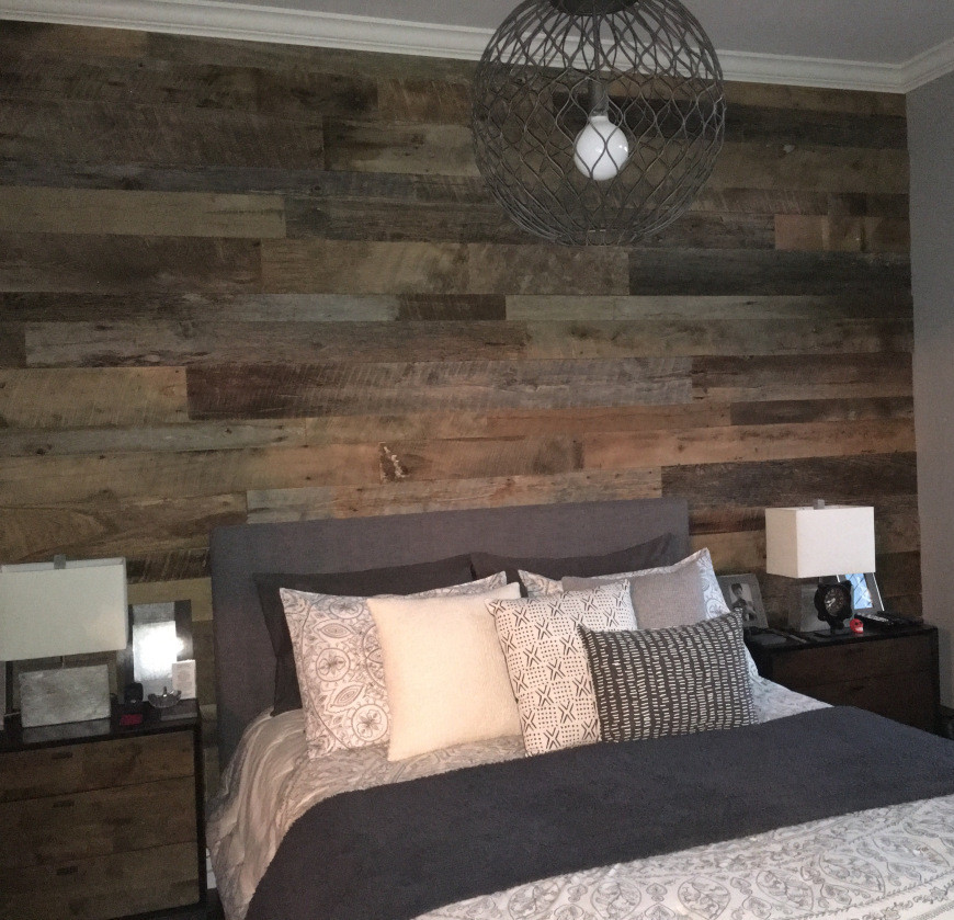 Best ideas about Wood Accent Wall Bedroom . Save or Pin Kristy s Master Bedroom Reclaimed Wood Accent Wall Now.