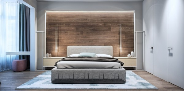 Best ideas about Wood Accent Wall Bedroom . Save or Pin 2 Luxury Apartment Designs For Young Couples Now.