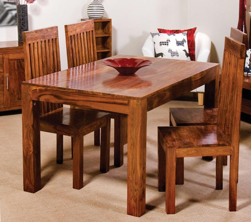 Best ideas about Wood Dining Table Set . Save or Pin Cuba Sheesham 4 Seater Dining Set Now.