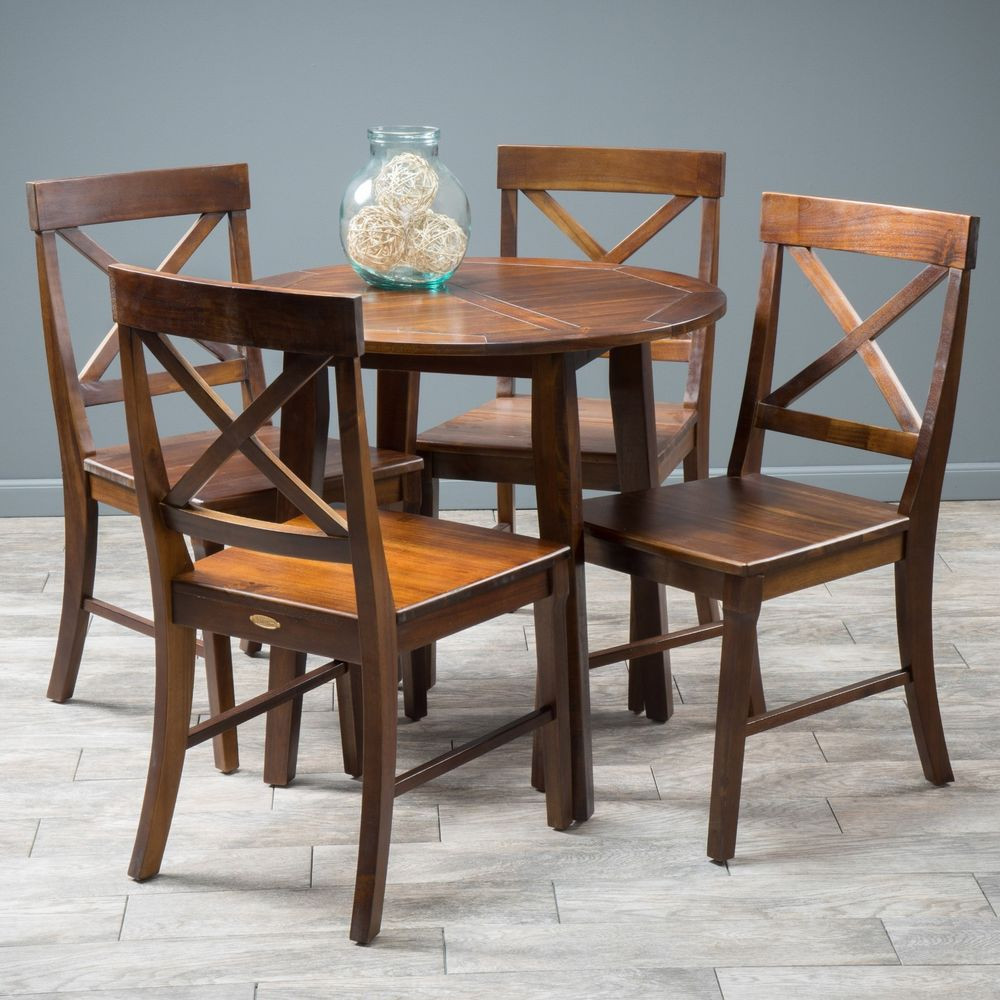 Best ideas about Wood Dining Table Set . Save or Pin Dining Room Furniture 5pc Mahogany Stained Wood Round Now.