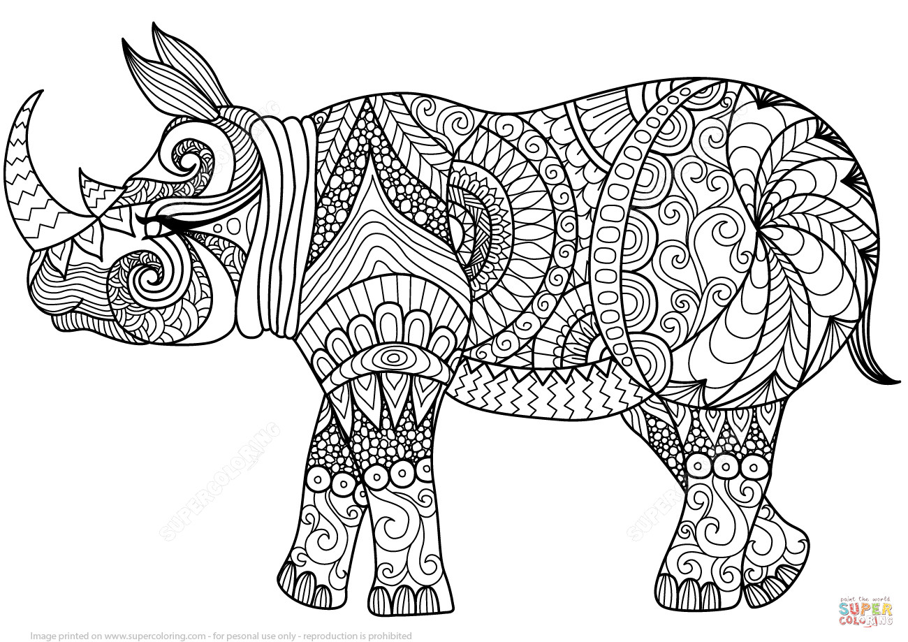 Best ideas about Zentangle Coloring Pages For Kids . Save or Pin Zentangle Rhino coloring page Now.