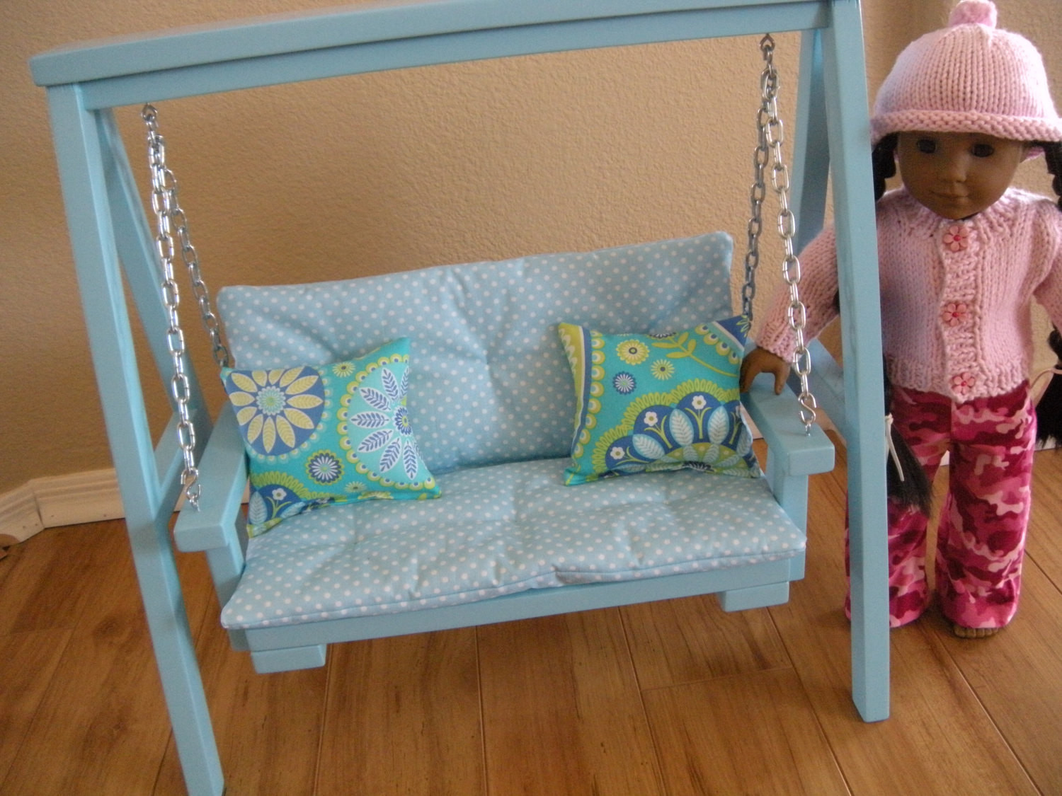 Best ideas about 18 Inch Doll Furniture DIY . Save or Pin AVAILABLE IN FEBRUARY Doll Swing Set with Cushion & Throw Now.