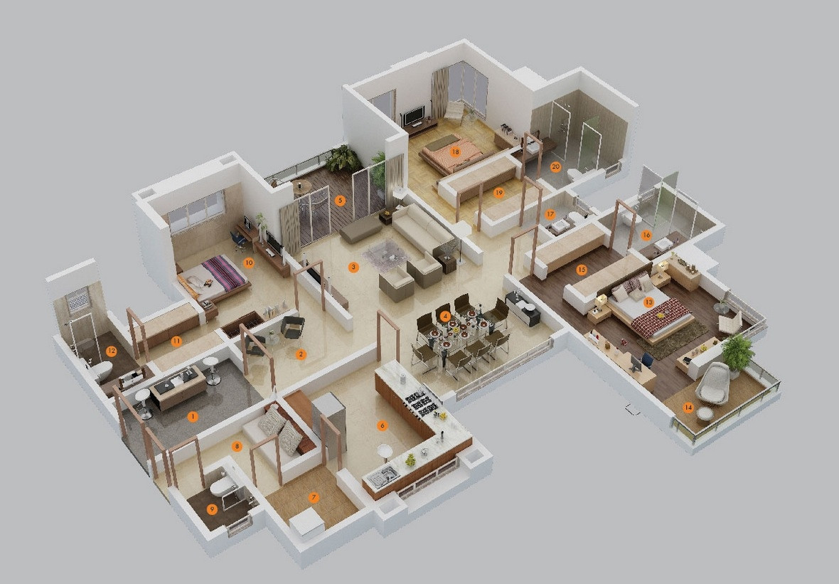 Best ideas about 3 Bedroom Floor Plans . Save or Pin 3 Bedroom Apartment House Plans Now.