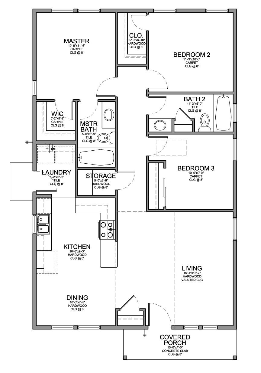 Best ideas about 3 Bedroom Floor Plans . Save or Pin Floor Plan for a Small House 1 150 sf with 3 Bedrooms and Now.