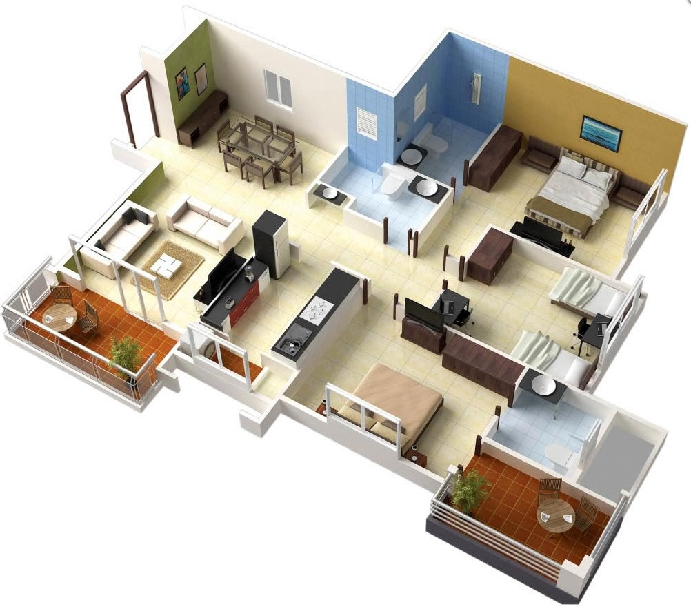 """Best ideas about 3 Bedroom Floor Plans . Save or Pin 50 Three """"3"""" Bedroom Apartment House Plans Now."""