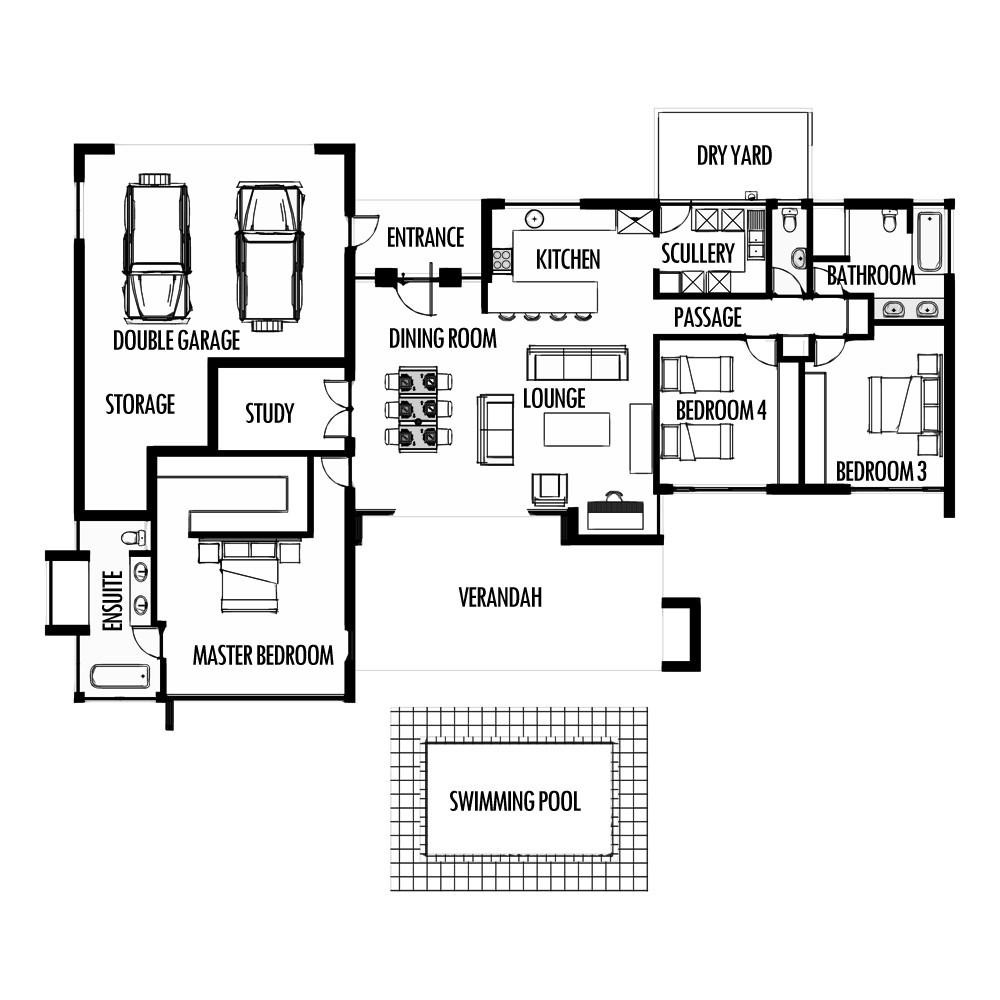 Best ideas about 3 Bedroom Floor Plans . Save or Pin 3 Bedroom 285m2 [FLOOR PLAN ONLY] – HousePlansHQ Now.