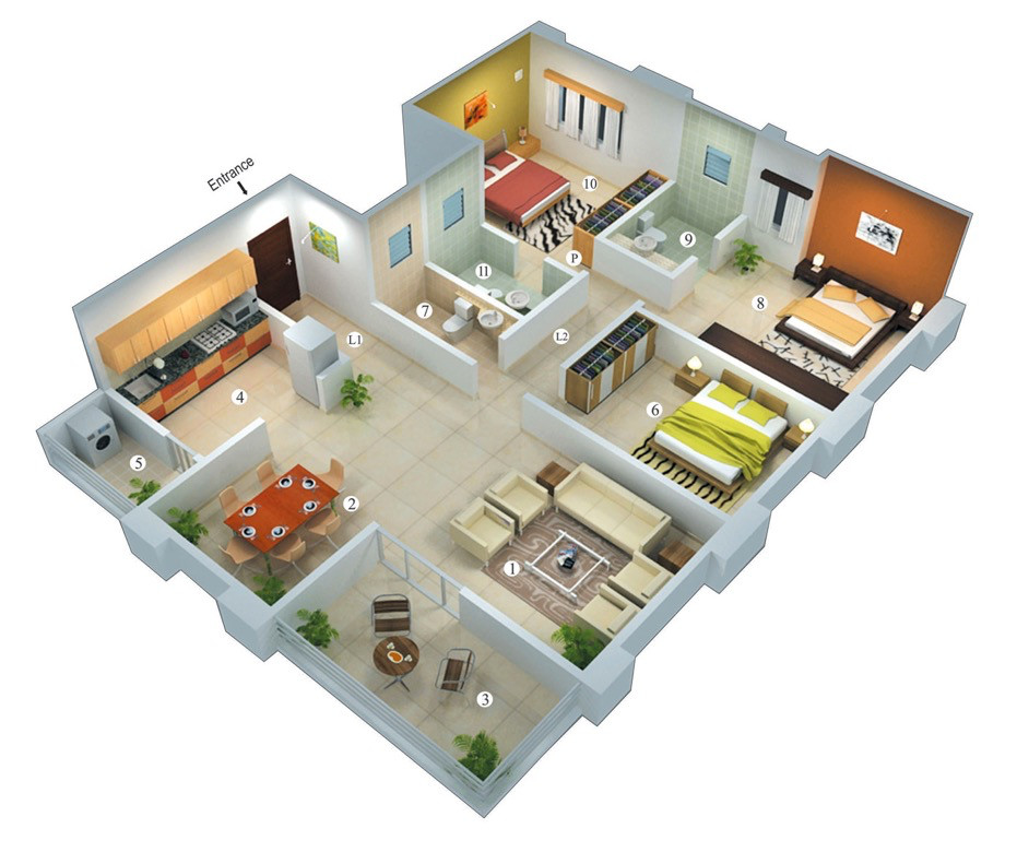 Best ideas about 3 Bedroom Floor Plans . Save or Pin THOUGHTSKOTO Now.