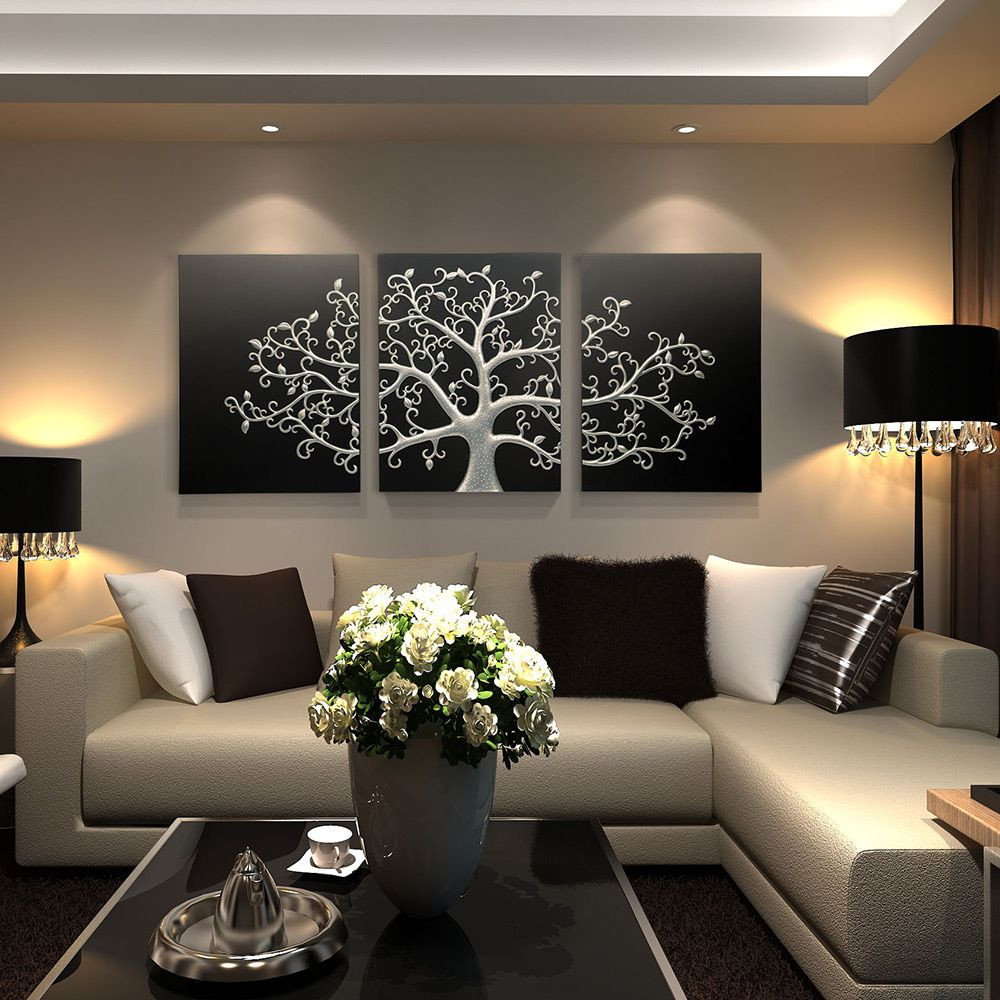 Best ideas about 3 Panel Wall Art . Save or Pin Inuni Tree of Life 3 panel wall art Black silver tree Now.