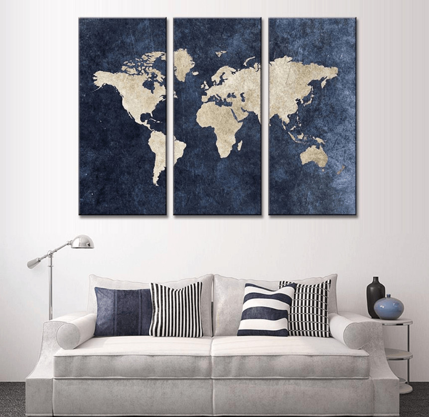 "Best ideas about 3 Panel Wall Art . Save or Pin 3 Panel ""Blue World Map"" Canvas Wall Art Now."