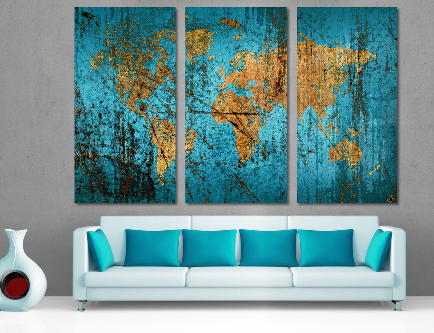 Best ideas about 3 Panel Wall Art . Save or Pin Munsell Blue Abstract World Map Canvas Print Wall Art Multi Now.