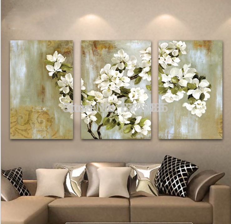 Best ideas about 3 Panel Wall Art . Save or Pin Hand Painted Abstract White Floral Picture Wall Flower Oil Now.