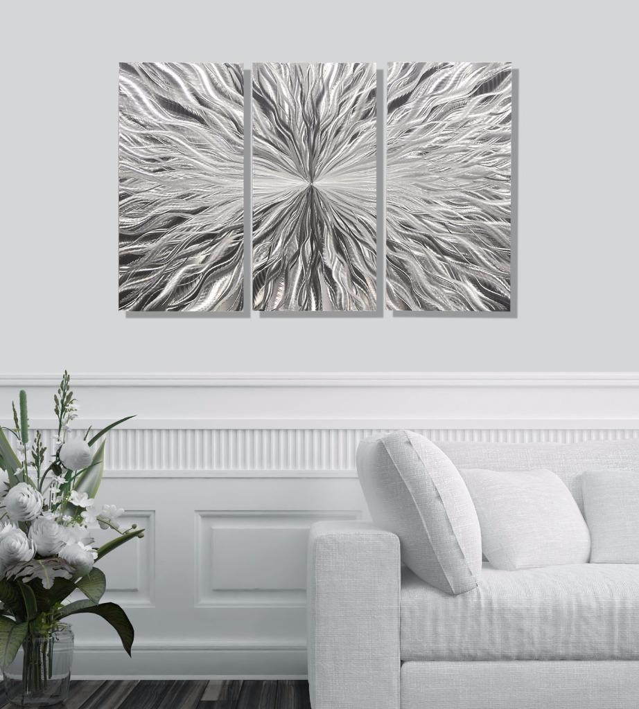 Best ideas about 3 Panel Wall Art . Save or Pin Silver Contemporary Abstract 3 Panel Metal Wall Art Now.