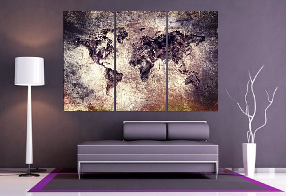 Best ideas about 3 Panel Wall Art . Save or Pin World Map Canvas Print 3 Panel Split Art Triptych for Now.
