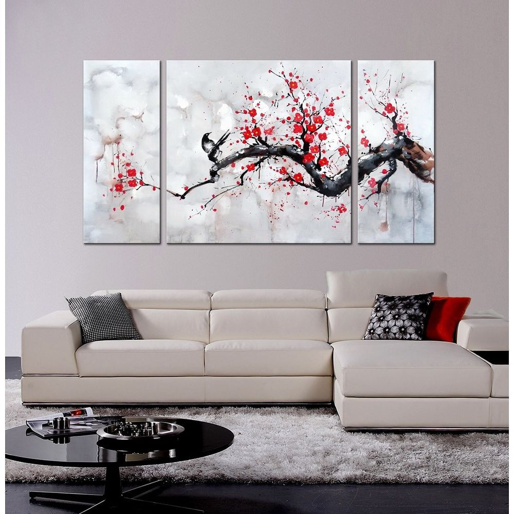 Best ideas about 3 Panel Wall Art . Save or Pin Japanese Inspired Wall Art Red Plum Blossom Hand Painted Now.