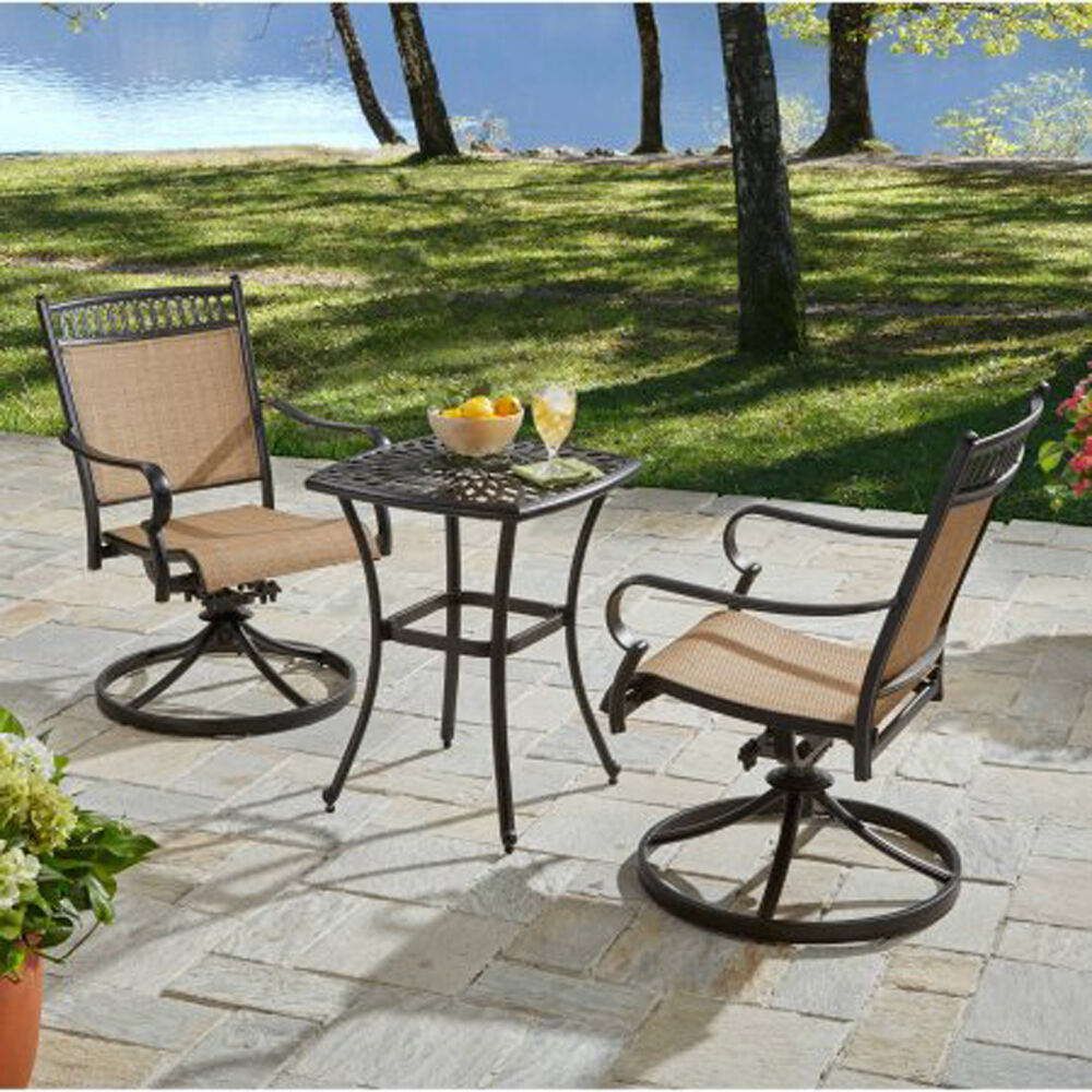 Best ideas about 3 Piece Patio Set . Save or Pin Bistro Set 3 Piece Aluminum Table And Swivel Sling Fabric Now.