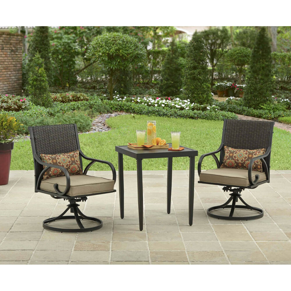 Best ideas about 3 Piece Patio Set . Save or Pin 3 Piece Bistro Set Swivel Rocker Chairs With Cushions Now.