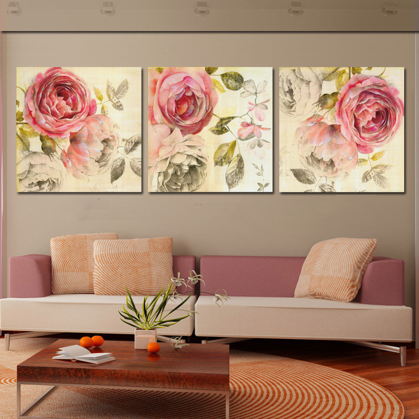 Best ideas about 3 Piece Wall Art . Save or Pin 3 Piece Wall Art Painting Classic Flower Rose Canvas Now.