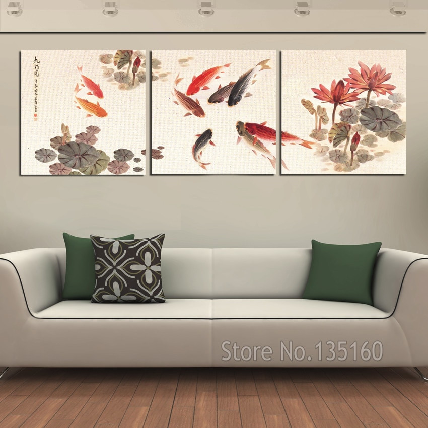 Best ideas about 3 Piece Wall Art . Save or Pin 3 Piece Wall Art Picture Traditional Chinese Calligraphy Now.