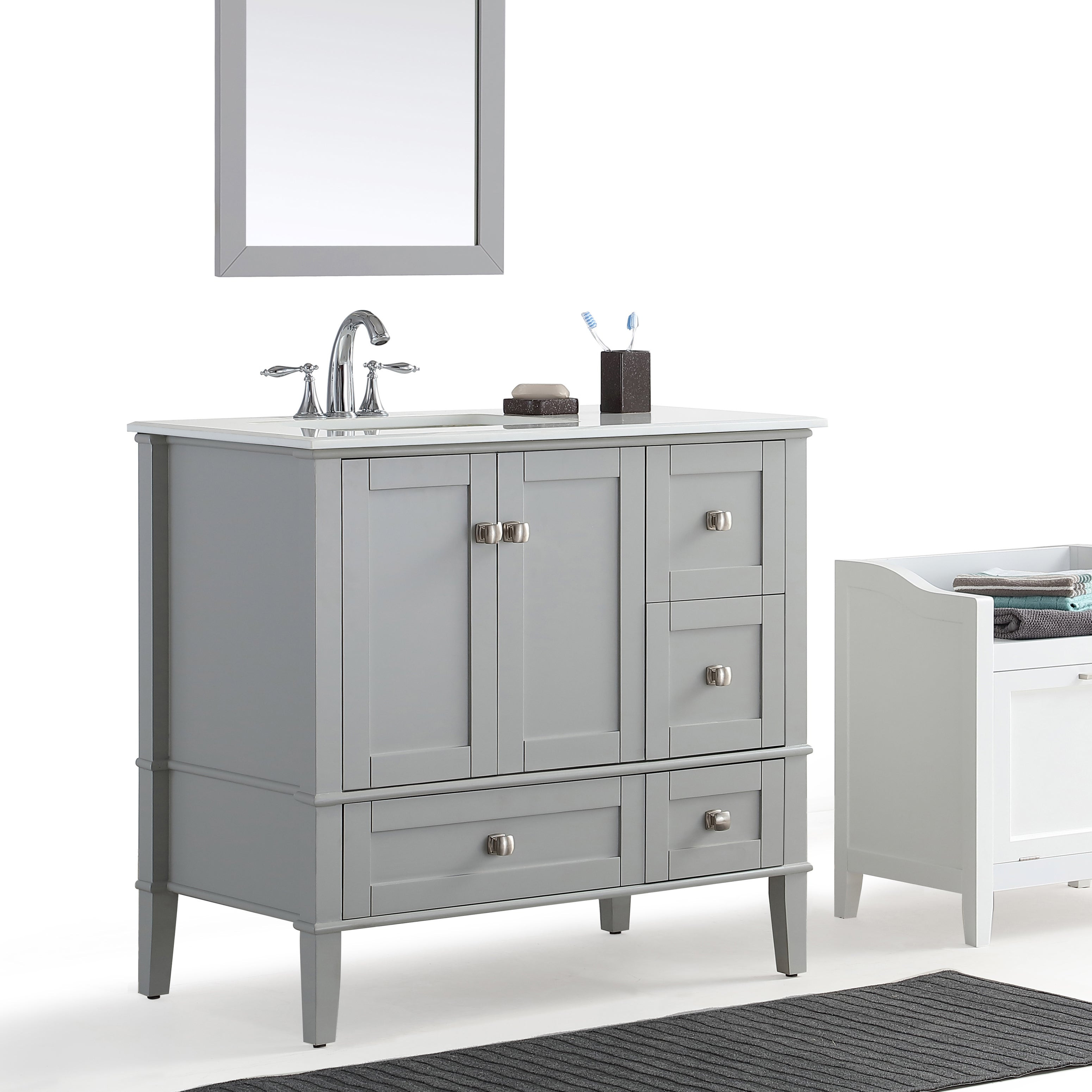 Best ideas about 36 Inch Bathroom Vanity . Save or Pin WYNDENHALL Windham Grey 36 inch fset Bath Vanity with Now.