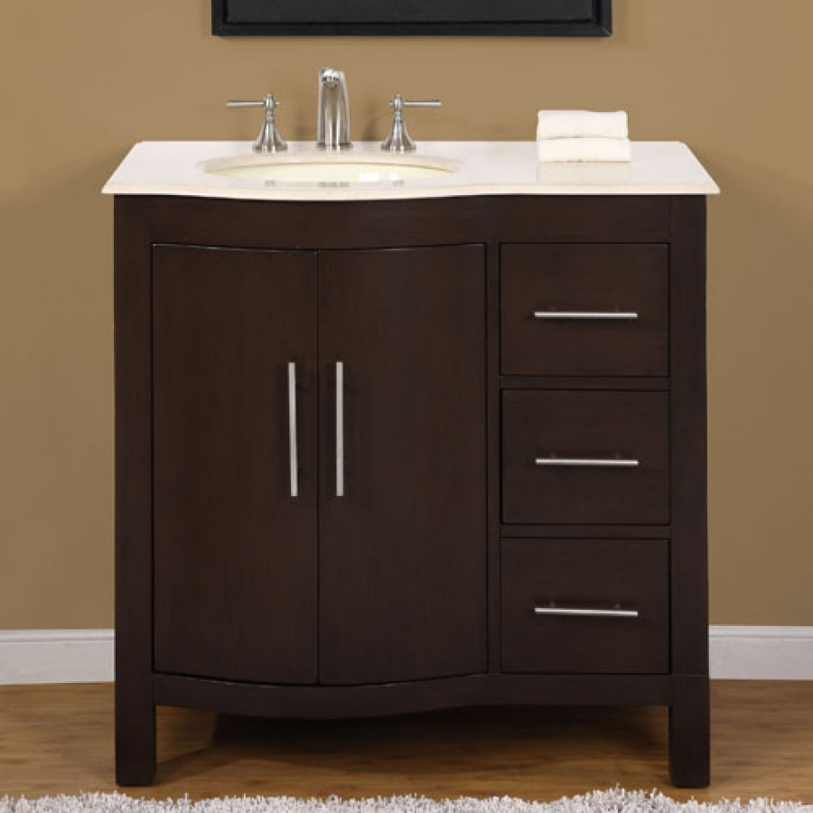 Best ideas about 36 Inch Bathroom Vanity . Save or Pin 36 Inch Modern Single Bathroom Vanity with Cream Marfil Now.