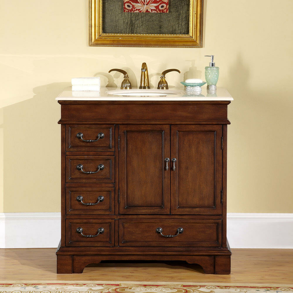 "Best ideas about 36 Inch Bathroom Vanity . Save or Pin 36"" Bathroom Single Sink Vanity Cabinet Crema Marfil Now."
