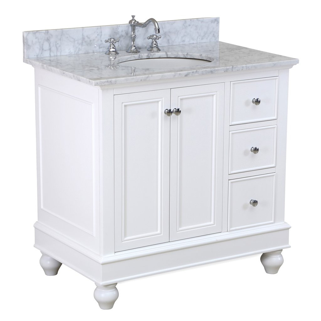 Best ideas about 36 Inch Bathroom Vanity . Save or Pin Bella 36 inch Vanity Carrara White – KitchenBathCollection Now.