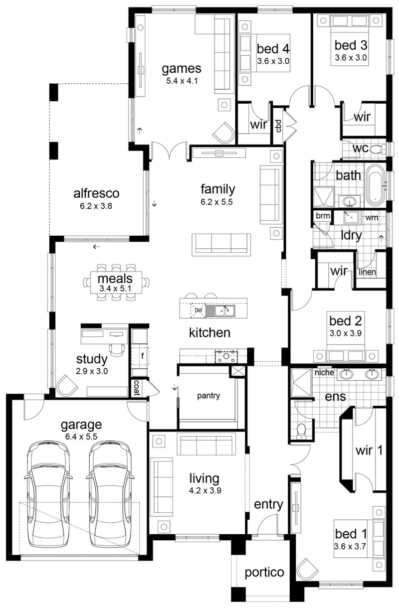 Best ideas about 4 Bedroom Floor Plans . Save or Pin Floor Plan Friday 4 bedroom family home Now.