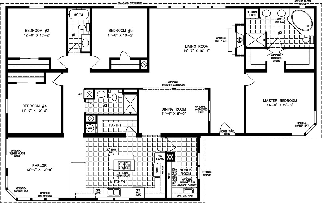 Best ideas about 4 Bedroom Floor Plans . Save or Pin Four Bedroom Mobile Home Floor Plans Now.