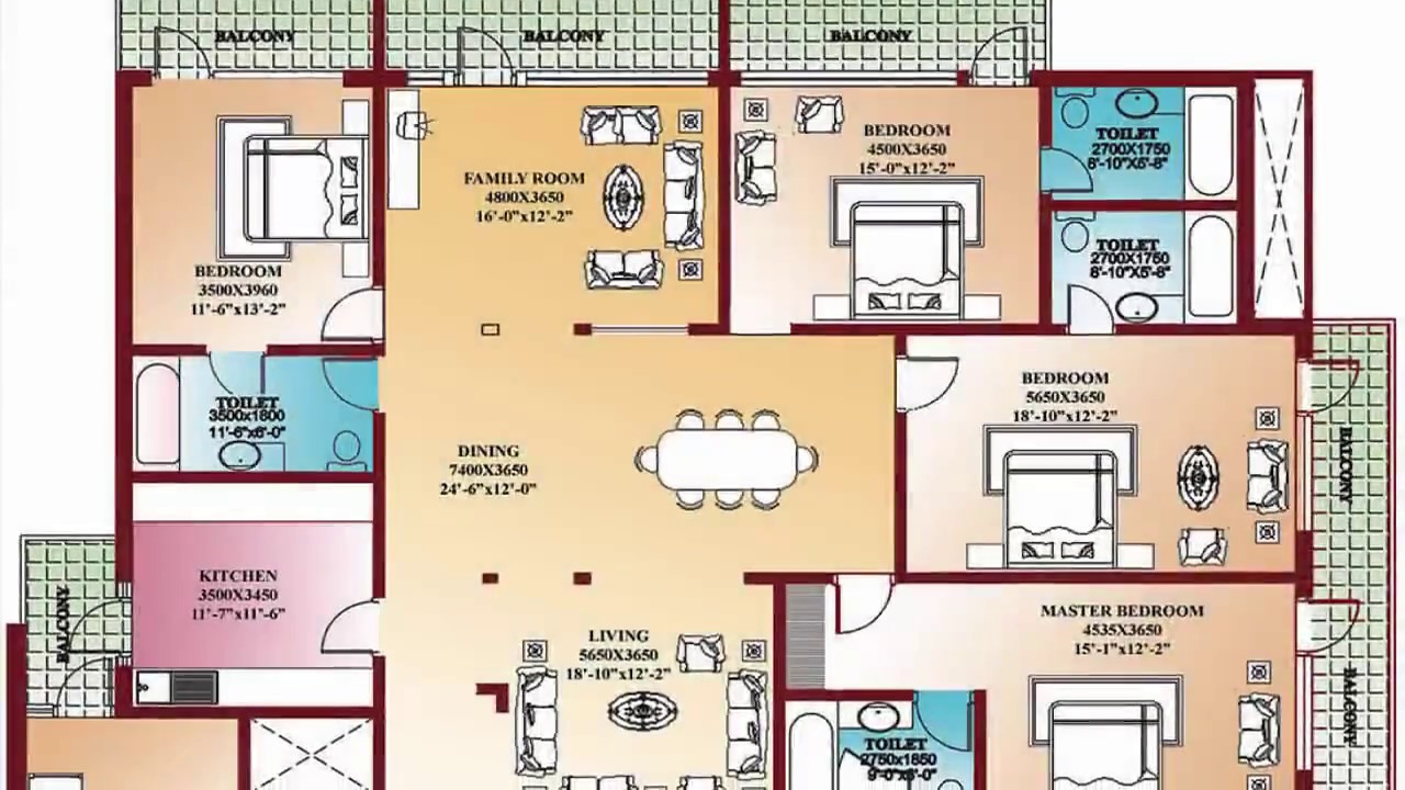 Best ideas about 4 Bedroom Floor Plans . Save or Pin 4 Bedroom Floor Plans Home Design Decorating and Now.