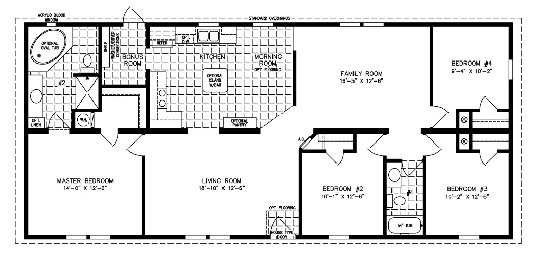 Best ideas about 4 Bedroom Floor Plans . Save or Pin 1600 to 1799 Sq Ft Manufactured Home Floor Plans Now.