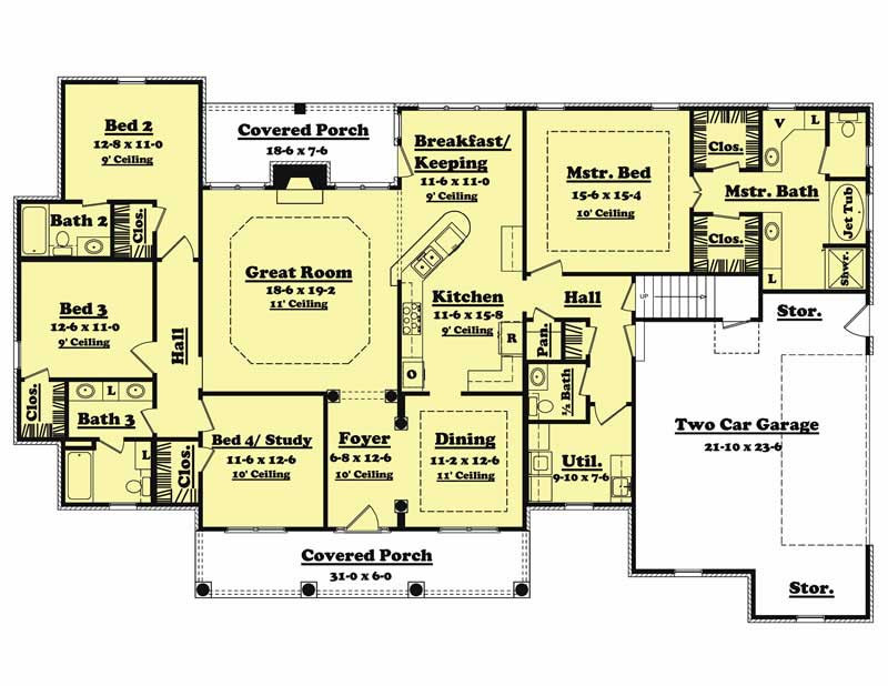 Best ideas about 4 Bedroom Floor Plans . Save or Pin Traditional Country Home Floor Plan – Four Bedrooms Now.