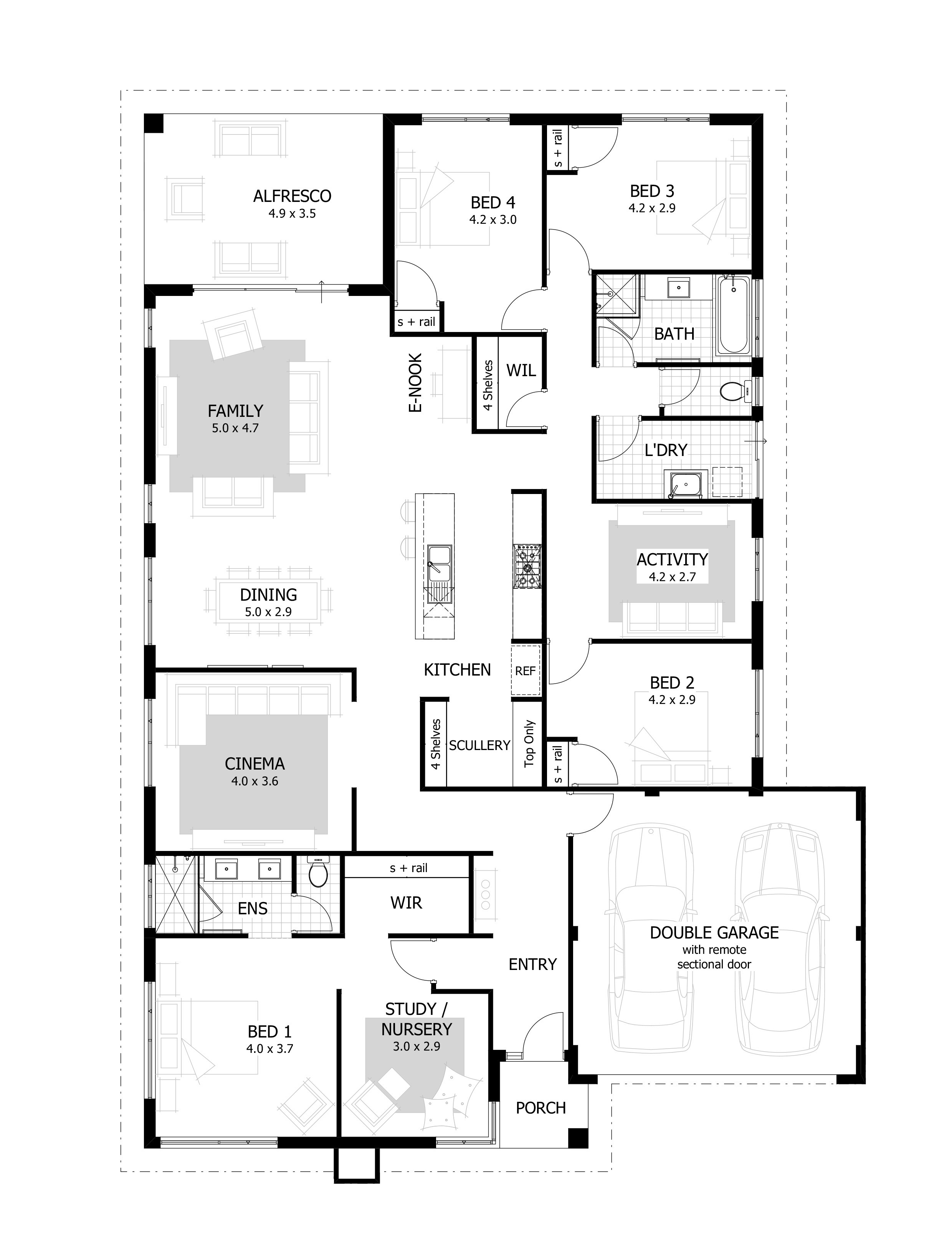 Best ideas about 4 Bedroom Floor Plans . Save or Pin 4 Bedroom House Plans & Home Designs Now.
