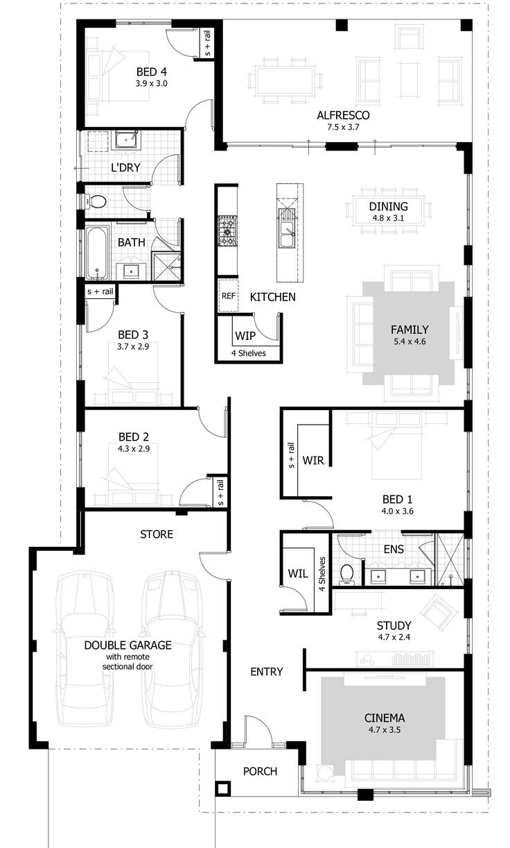 Best ideas about 4 Bedroom Floor Plans . Save or Pin Best 25 4 bedroom house ideas on Pinterest Now.