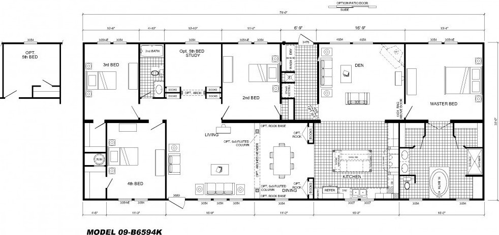 Best ideas about 4 Bedroom Mobile Homes . Save or Pin 4 Bedroom Floor Plan B 6594 Hawks Homes Now.