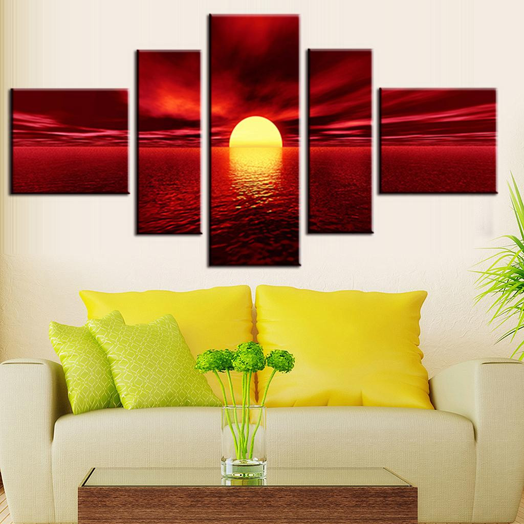 Best ideas about 5 Panel Wall Art . Save or Pin 5 Panel Modern Art Painting Wall Art Picture Spray Now.