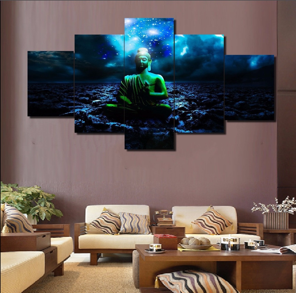 Best ideas about 5 Panel Wall Art . Save or Pin 5 Panel Modular Home Decor Wall Art Buddha Painting Now.