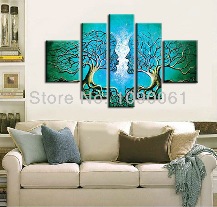 Best ideas about 5 Panel Wall Art . Save or Pin Handmade Abstract Lovers Kiss Tree Canvas Painting Now.