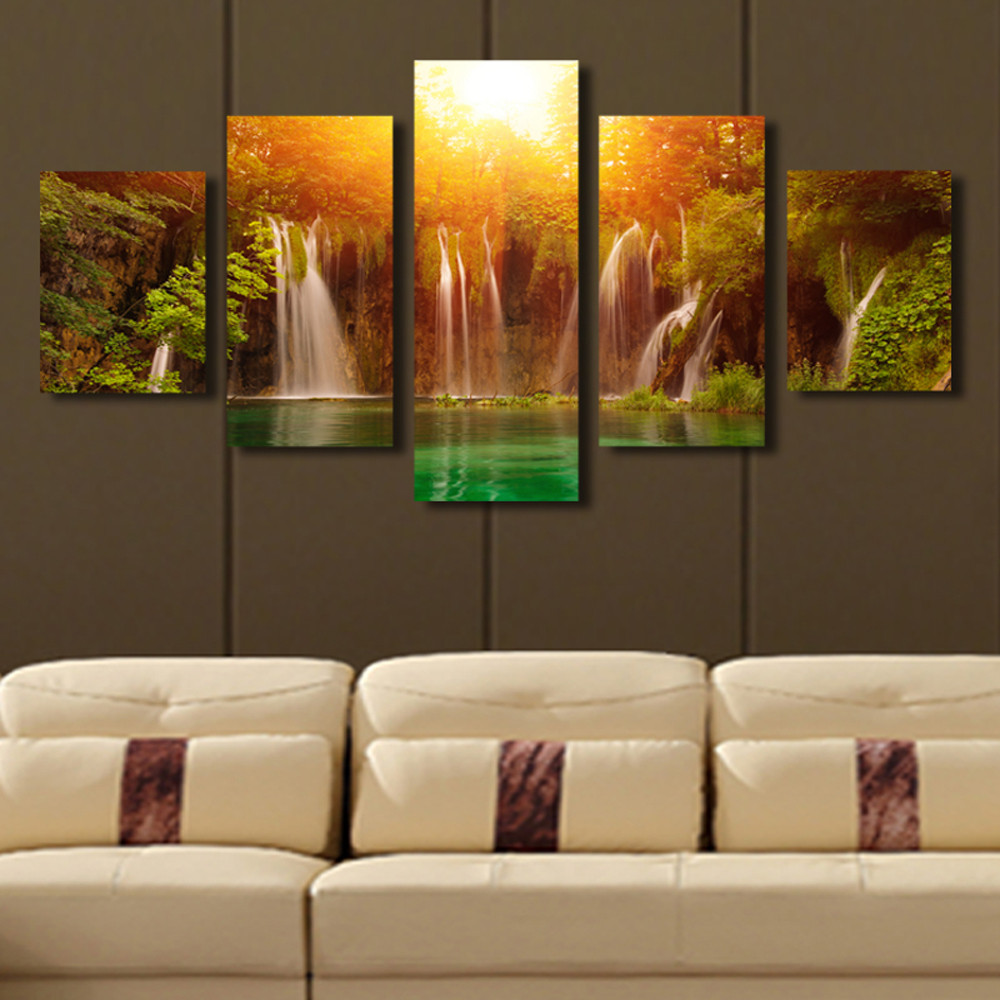 Best ideas about 5 Panel Wall Art . Save or Pin 5 Panel Canvas Art Waterfall Sunrise Landscape Canvas Now.