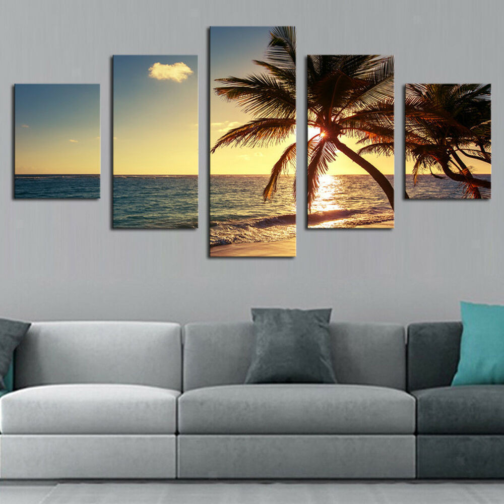 Best ideas about 5 Panel Wall Art . Save or Pin 5 panel Canvas Wall Art Painting Set Coconut Tree Now.