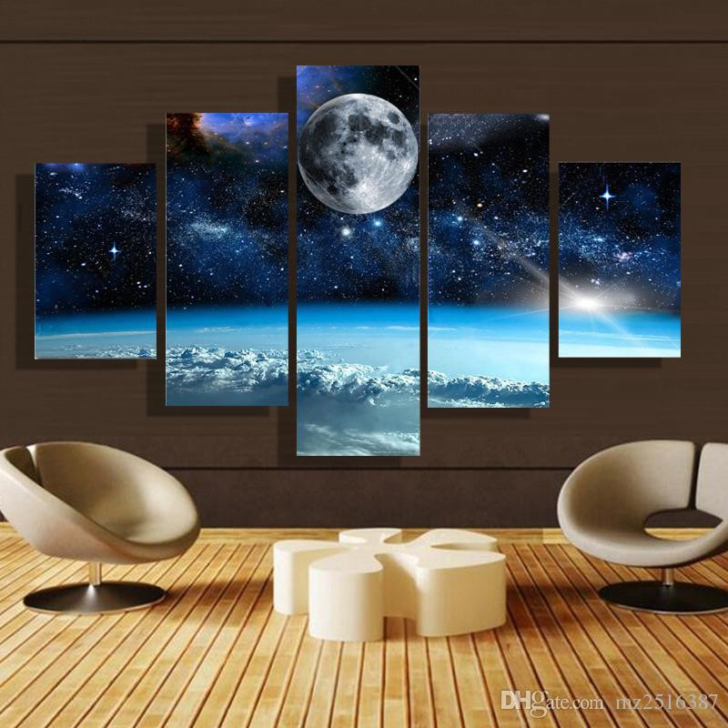 Best ideas about 5 Panel Wall Art . Save or Pin 2018 5 Panel Forest Painting Canvas Wall Art Picture Home Now.