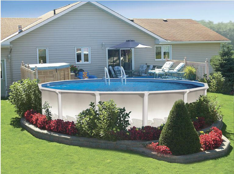 Best ideas about Above Ground Pool Landscaping . Save or Pin Ground Pool Landscaping Ideas Home Decorating Ideas Now.