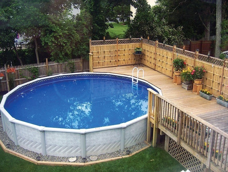 Best ideas about Above Ground Pool Landscaping . Save or Pin 40 Uniquely Awesome Ground Pools with Decks Now.