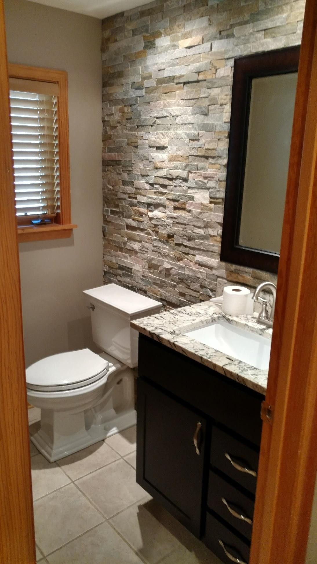 Best ideas about Accent Wall Bathroom . Save or Pin Stone accent wall bathroom Now.