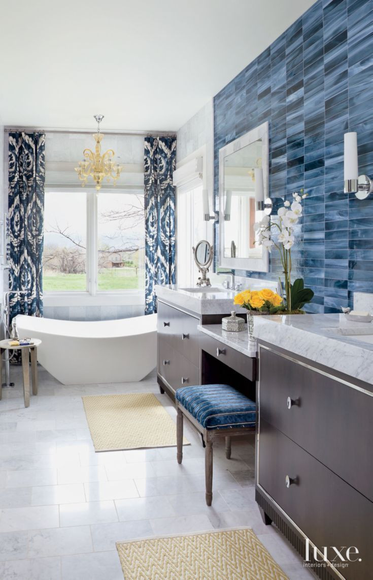 Best ideas about Accent Wall Bathroom . Save or Pin Eclectic White Bathroom with Blue Tile Accent Wall Now.