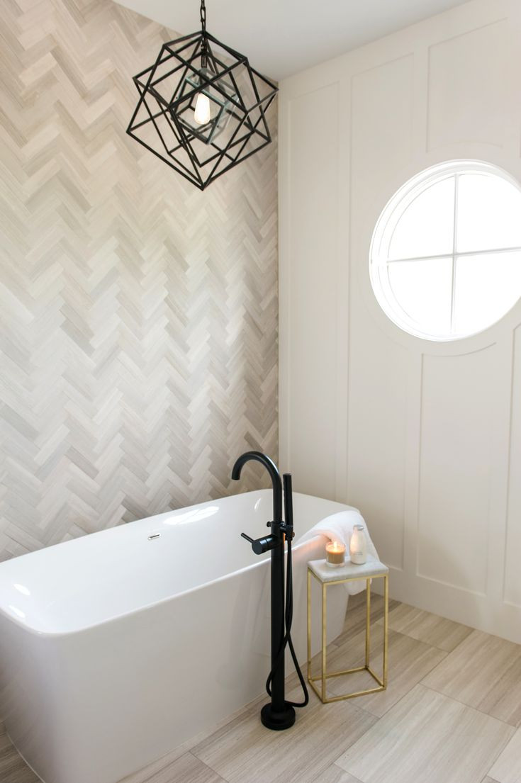 Best ideas about Accent Wall Bathroom . Save or Pin Master bath sanctuary with herringbone marble tile accent Now.