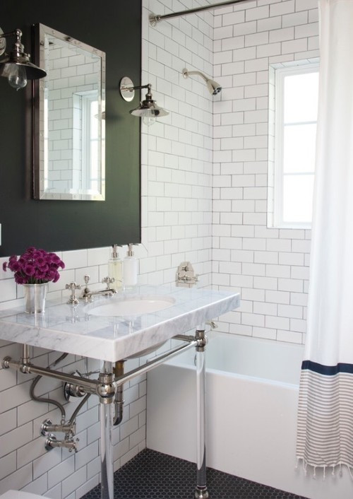 Best ideas about Accent Wall Bathroom . Save or Pin Black accent wall bathroom Now.