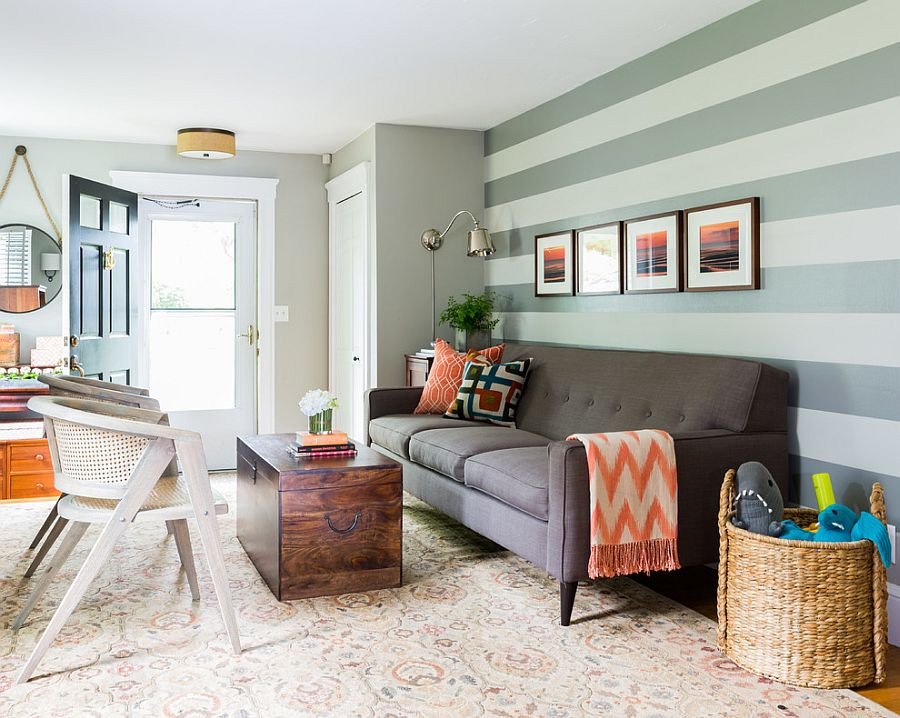 Best ideas about Accent Wall Colors Living Room . Save or Pin 15 Fabulous Living Rooms with Striped Accent Walls Now.
