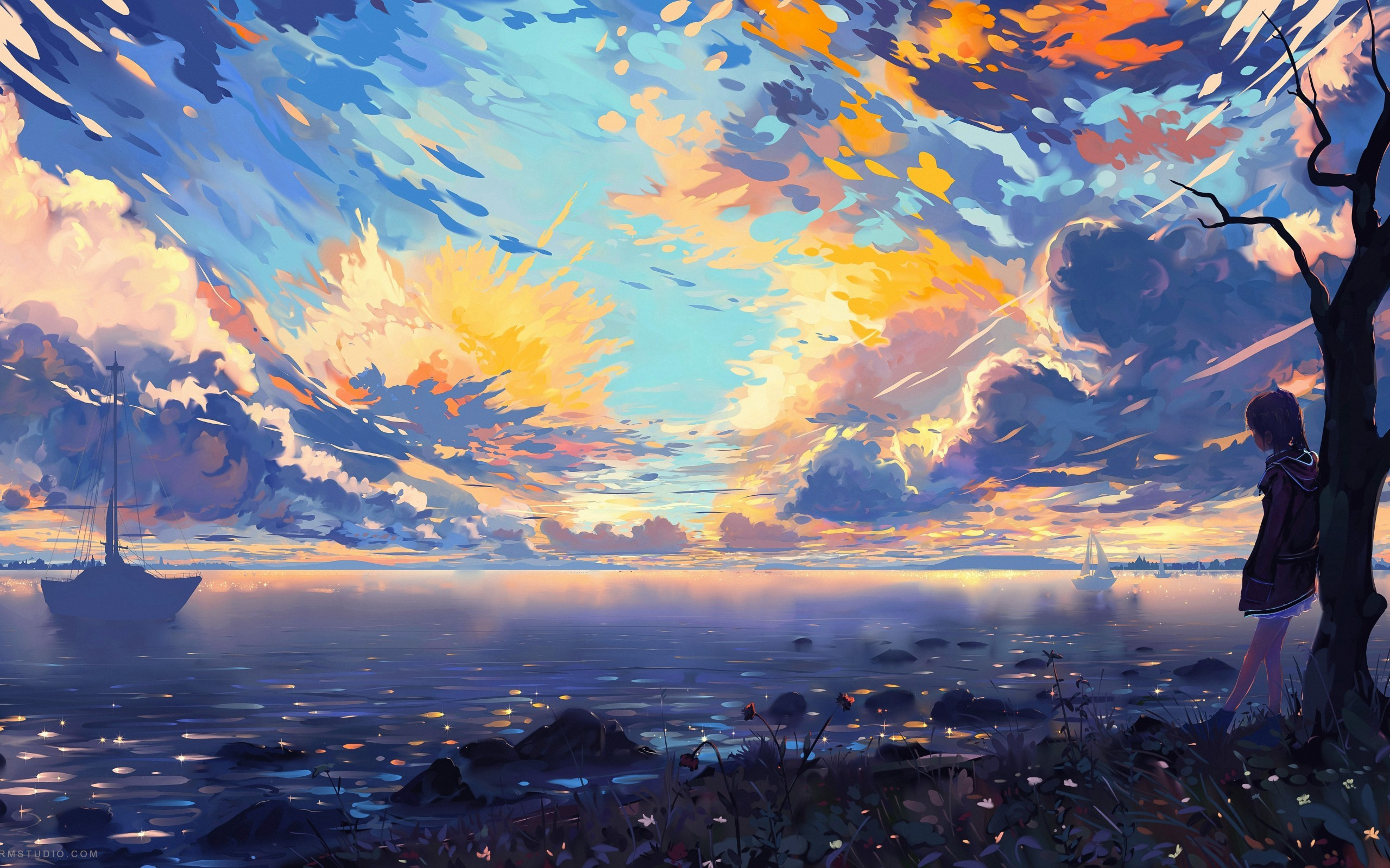 Best ideas about Anime Landscape Wallpaper . Save or Pin Download Anime Landscape Sea Ships Colorful Now.